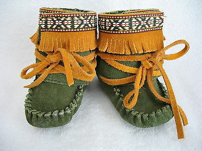 Vintage Baby High Top Wrap Moccasins, Leather
