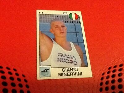 #114 Gianni Minervini swimming / Panini Supersport sticker 1988 Italy rare set