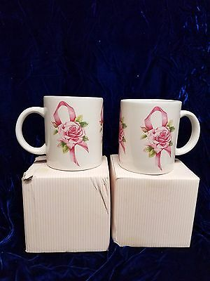 Two 1997 New Avon Breast Cancer Awareness Coffee Cocoa Large 10 Oz Mugs