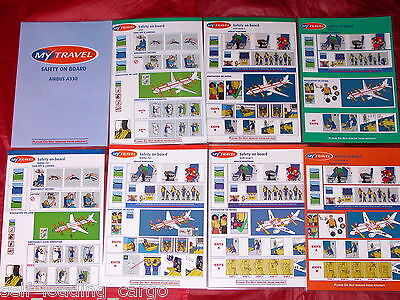 8 x MY TRAVEL SAFETY CARDS AIRBUS & BOEING - ALL DIFFERENT - MINT CONDITION