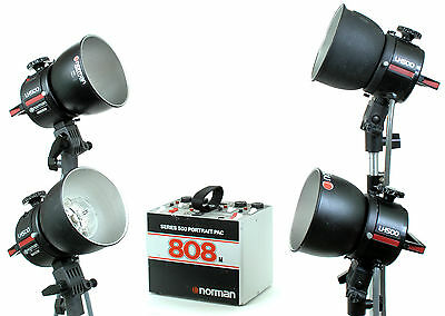 Norman P808M Power Pack with 4 LH500 Flash Heads, Reflectors, & Bulbs-Pre-Owned