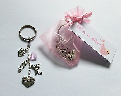 Keyring Baby Shower Girl Pregnancy Gift Mum to be tag favour christening child