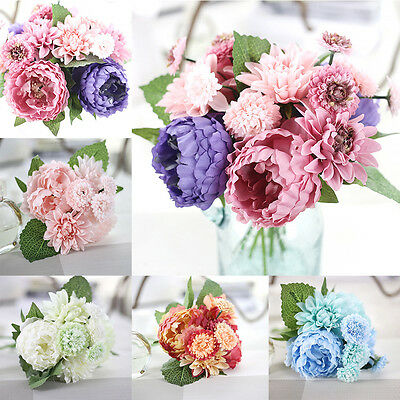 Artificial Bouquet Fake Peony Silk Flower Wedding Party Home Garden Decor
