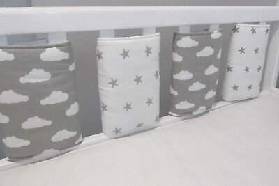 New ☁⭐️️Grey & White Clouds, Stars  ⭐☁️️ Cot Bar Bumpers (pack Of 8 )