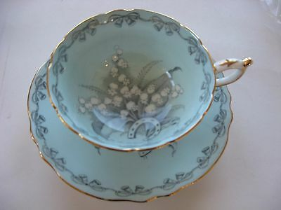 Vintage Double PARAGON Bone China Tea Cup Saucer To the Bride Lily of the Valley