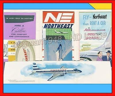 NORTHEAST AIRLINES 1958 AIRLINE TIMETABLE SCHEDULE...11 piece flight packet