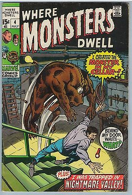 Where Monsters Dwell 4 Jul 1970 VG+ (4.5)
