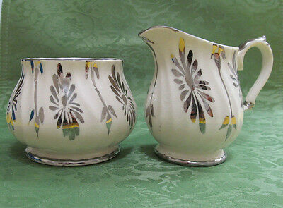 Sadler Cream and Sugar Set Gold Swirl # 3147 England Vintage