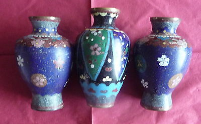 3 Small Vintage Antique Japanese Chinese Cloisonne Vase Display Collect