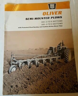 Vintage OLIVER Semi-Mounted Plows Brochure 565-3-6 bottoms 566-5 to 6 bottoms