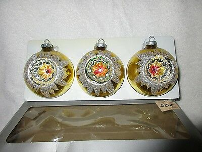 Vintage Indented Shiny Brite Glass Christmas Ornaments Holiday Decorations