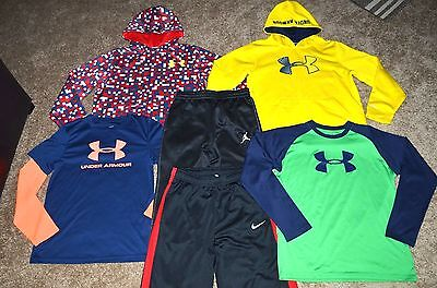 Lot of 6 Boy's Under Armour/Nike/Jordan Long Sleeve Shirts/Hoodies/Pants Size L
