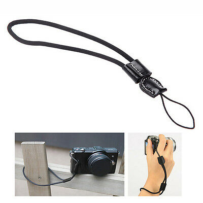Black Camera Wrist Hand Strap w/ Leather for Canon Nikon Olympus Panasonic LCA