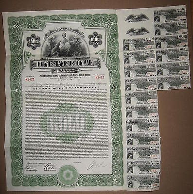 1928 City of Frankfort on Main $1000 6 1/2% Gold Bond + Coupons Germany