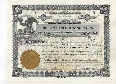 Golden Eagle Mining Company Stock Certificate 1980