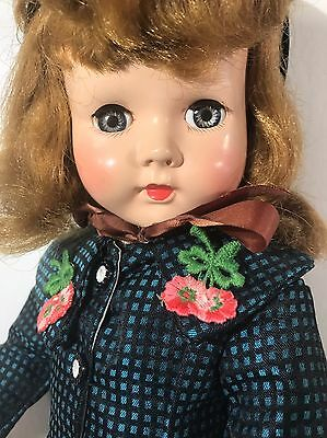 "Vintage Effanbee Honey 19"" Hard Plastic Doll - 1950s - Gorgeous Dress Coat"
