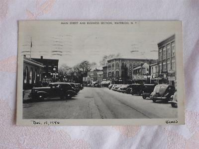 Old Pc B&w Picture Main Street & Business Section, Waterloo, New York, Used 1940