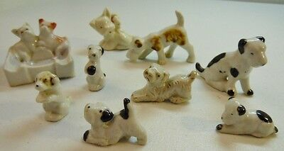 Lot 9 Miniature Terrier Dog Ceramic Figurines And Ashtray Vintage Old