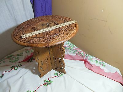 Vintage India Hand Carved Small Folding Wooden Side Table Stand Inlaid End Leaf
