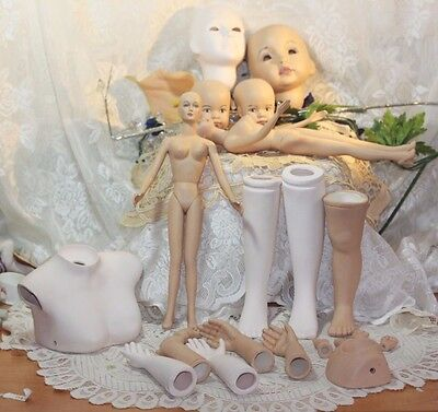 Porcelain ceramic doll parts FULL DOLLS &  Heads, arms, legs, hands   Lot of 22