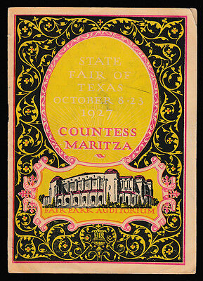1927 State Fair of Texas Countess Maritza Booklet Ads: Coca Cola, Chesterfield +