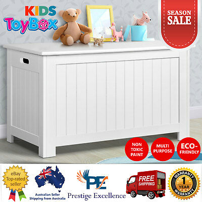 New Toy Storage Box Chest Wooden Cabinet Containers Kids Clothes Organiser White