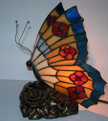 """Tiffany Style Butterfly Table/night Light Lamp 9"""""""