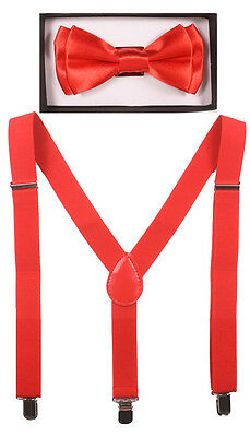KID SUSPENDER and BOW TIE COMBO SET Adjustable Boys Girls Toddlers, RED