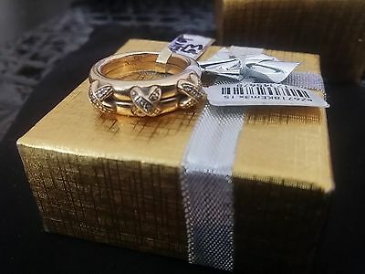 Authentic Chaumet LIENS RING 18K Yellow Gold Diamond-set three crossed link. NEW