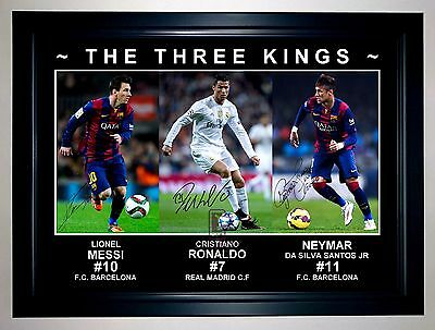 Lionel Messi Cristiano Ronaldo Neymar 3 Kings Photo Collage Signed Print/framed