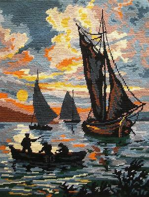"""vintage completed needlepoint sail boat fishing boat in the dusk 18""""x14"""""""