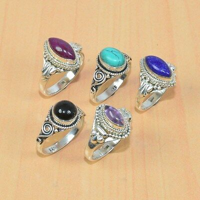 Wholesale 5Pc 925 Solid Sterling Silver Natural Black Onyx & Mix Stone Ring Lot