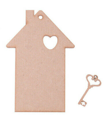 MDF Wooden House Shape with Key Shape craft blank Tags Set of 5 of each