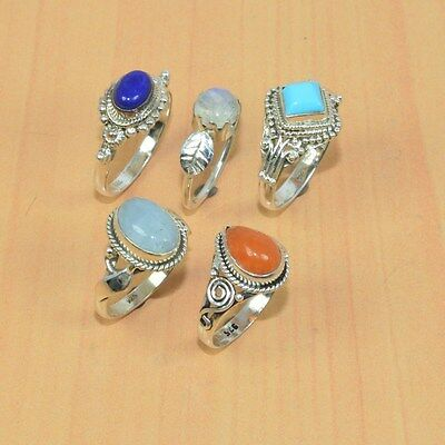 Wholesale 5Pc 925 Solid Sterling Silver Natural Carnelian & Mix Stone Ring Lot