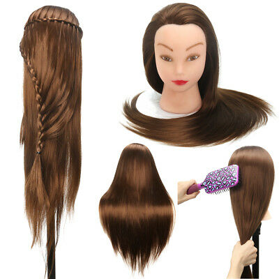 20'' Cosmetology Long Hair Hairdressing Mannequin Training Head Model Doll Clamp