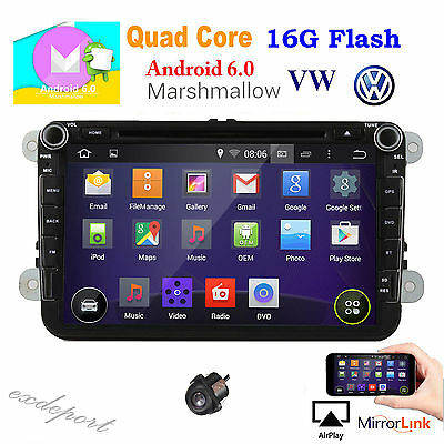 "8"" Android 6.0 Quad Core GPS Navigation Car DVD Stereo Radio Multimedia for VW"