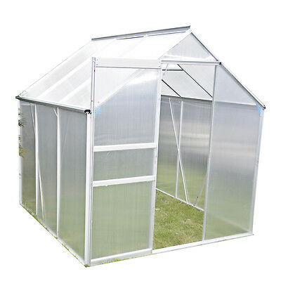 6x4 Aluminium Frame Polycarbonate Clip Silver Greenhouse With Foundation Base