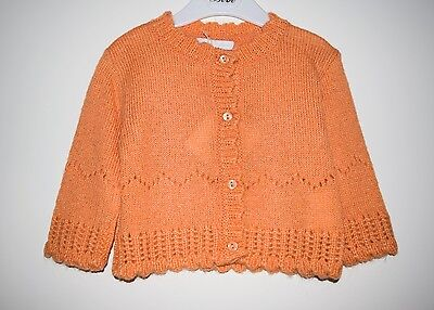 CONFETTI by ABSORBA BABY GIRL KNIT CARDIGAN SWEATER JUMPER - ORANGE SIZE 00 6M
