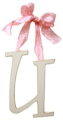 Arrivals Wooden Letter U with Pink Polka Dot Ribbon, Cream