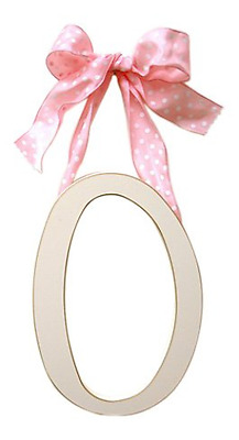 Arrivals Wooden Letter O with Pink Polka Dot Ribbon, Cream