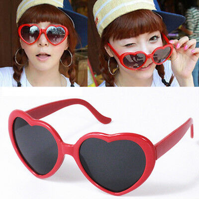 Unisex Fashion Colorful Love Cute Heart Shape Plastic Frame Outdoor Sunglasses