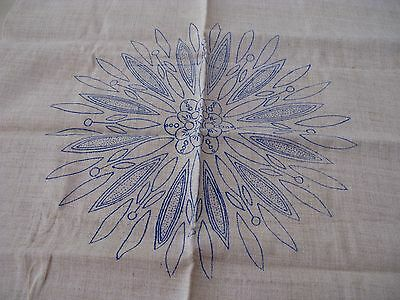 UNUSED VINTAGE LINEN CUSHION COVER with TRANSFER to EMBROIDER