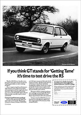 FORD ESCORT MK2 RS MEXICO RETRO A3 POSTER PRINT FROM 70's ADVERT