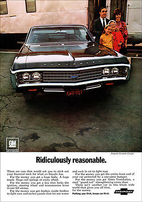 Chevrolet 69 Impala Custom Coupe Retro A3 Poster Print From Advert 1969