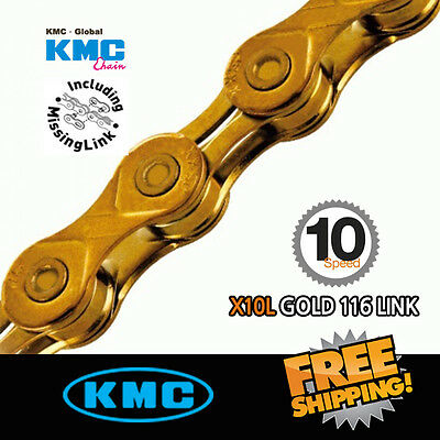 KMC X10-L Gold Chain 10 Speed 116link with Missing Link for Road / MTB Bike