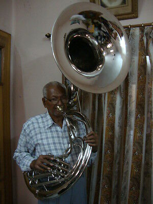 """**SUPERB SALE! NICKEL PLATED NEW Bb FLAT 24""""SOUSAPHONE TUBA +M/P+WITH HARD CASE"""