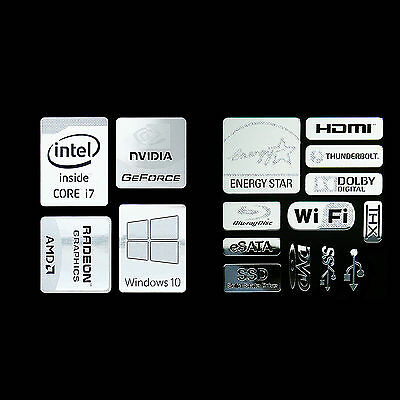 (combo HH) Haswell Intel Core i7 Logo Metal Decal Sticker Energy star Windows10