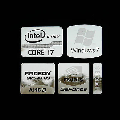 Intel Core i7 Logo Metal Decal Sticker NVIDIA Radeon Graphics (Silver Type A)