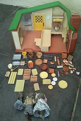 Sylvanian Families Watermill Bakery + Family+ accessories