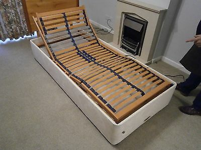 Single 3ft adjustable electric bed with pine headboard, Millbrook 90 x 200